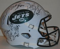 2015 NY Jets team signed Riddell full size football helmet w/ proof photo.  Proof photo of the Jets signing will be included with your purchase along with a COA issued from Southwestconnection-Memorabilia, guaranteeing the item to pass authentication services from PSA/DNA or JSA. Free USPS shipping. www.AutographedwithProof.com is your one stop for autographed collectibles from New York sports teams. Check back with us often, as we are always obtaining new items.