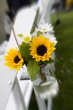 Sunflowers and mason jar #MyWeddingFlowers, #WeddingCeremonyDecorations www.myweddingflowers.us