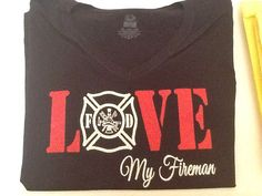Fire fighter Fireman Wife Girlfriend fitted vneck by JustStuffOhio, $22.00