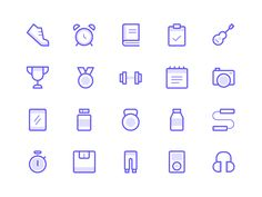 Workout Icons designed by Dmitri Litvinov. Connect with them on Dribbble; the global community for designers and creative professionals. Web Design, App Icon Design, Flat Design, Icons Web, Fitness Icon, Fitness App, Best Icons, Line Icon, Layout