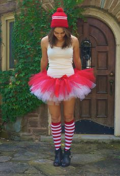 CandyCane Tutu for our next race Diy Christmas Costumes, Whoville Costumes, Xmas Costumes, Christmas Outfits, Halloween, Girl Scout Costume, How To Make Tutu, Toddler Tutu, Cowboy Christmas