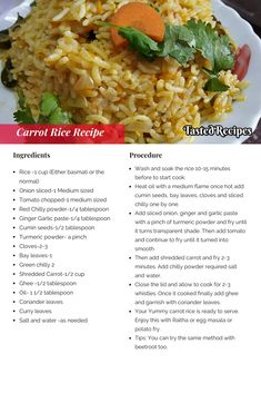 Do you enjoy Indian recipes? Interesting in knowing more about it? Then read on and enjoy! Kid Veggie Recipes, Rice Recipes, Side Dish Recipes, Indian Food Recipes, Indian Foods, Savoury Rice Recipe, Carrot Rice Recipe, Savory Rice, Kitchens