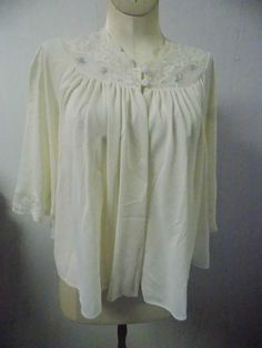 Vintage Shadow Line Ivory White Bed Jacket Sz Medium w/ Lace & Rose Embroidery #ShadowLine