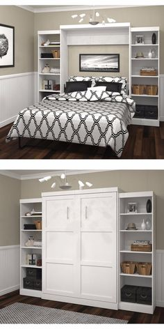 The new Boutique Queen Wall Bed creates a more functional living space. Perfect for the guest room o&; The new Boutique Queen Wall Bed creates a more functional living space. Perfect for the guest room o&; Cama Murphy, Murphy Bed Ikea, Murphy Bed Plans, Murphy Bed Office, Queen Murphy Bed, Murphy Bed Bookcase, Full Size Murphy Bed, Build A Murphy Bed, Office Bed