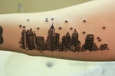 Atlanta skyline tattoo in the style of 500 days of summer. Adorable.