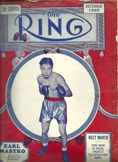 SOLD - Very old THE RING Boxing Magazine - December 1929  Earl Mastro (Chicago) - AS IS