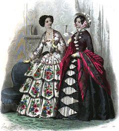 Naisten muotiin kuuluivat leveät turnyyrihameet ja korsetit, joilla tavoiteltiin mahdollisimman pientä vyötärönmittaa.