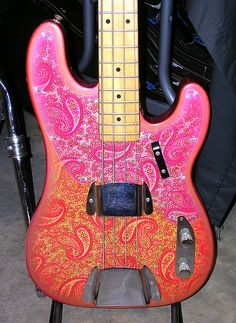 Love the paisley on this bass. Could even be okay with the color.