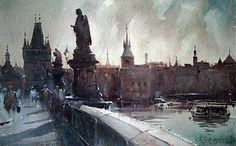 my dripping brain: Prague (after a watercolor by Dusan Djukaric)