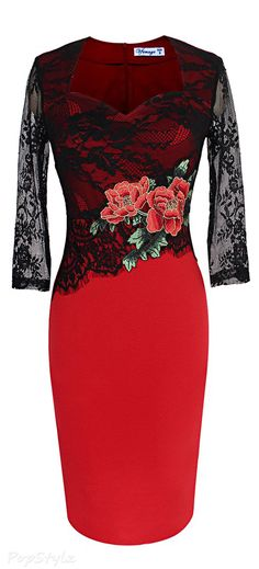 Vfemage Embroidered Floral Lace Dress