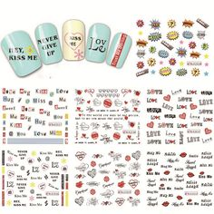 Buy 1 Sheet NEW Nail Art Water Transfer Design Sweet Love Letter Tip Nail Art Sticker Decal Manicure Decor Tools BLE2524-2534 at JacLauren.com