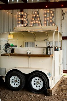 This is a horse trailer I turned into a bar for my wedding. I know rent it out for other events ♡
