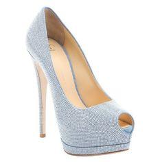 Giuseppe Zanotti Light blue beaded 'Sharon' platform peep toe pumps (9 160 ZAR) ❤ liked on Polyvore featuring shoes, pumps, heels, light blue, platform heels pumps, platform pumps, high heel pumps, peep-toe pumps and high heel court shoes