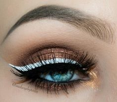 Double cat eye makeup look - Black and White / Bronze and Gold