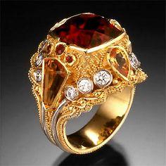 Rubellite Turmaline and Garnet Ring -Kent Raible Fine Art Handmade Jewelry
