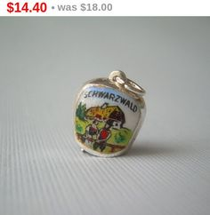 SCWARTZWALD Cow Bell Charm Pendant-Vintage Enamel Sterling 800 Silver-Swiss Alps Germany Souvenir-Medium-Gift Wrap Adornment by CougarCoveFineGifts on Etsy https://www.etsy.com/listing/104598764/scwartzwald-cow-bell-charm-pendant