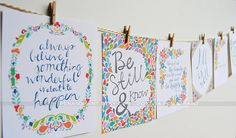 NEW SIZE Floral Mini Print Set of 8 Motivational by penandpaint
