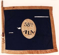 Battle Flag of the 38th Alabama Infantry Regiment. This flag conforms to the pattern of those issued to the corps of Major General William J. Hardee, Army of the Mississippi/Army of Tennessee. The date and place of manufacture are unknown. The flag was captured on November 25, 1863 during the Battle of Missionary Ridge by the 2nd Ohio Volunteer Infantry, Colonel H. G. McCook commanding.