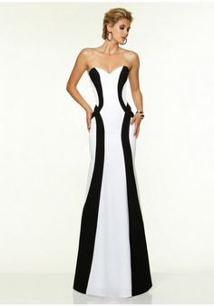 ed99d27a7 #reallycute black and white evening dresses 170572705527 Lee White, Mori  Lee Dresses, Strapless