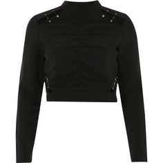 River Island Black ruched embellished crop top ($64) ❤ liked on Polyvore featuring tops, black, crop tops / bralets, women, gathered top, cut-out crop tops, long sleeve tops, rouched top and cropped tops