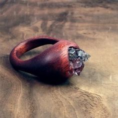 """Exotic Wood Ring Tibetan Crystal Artisan African Padauk, MidwestAlchemy """"This piece was created from a piece of African Padauk which is a vibrant red/orange colored wood with darker striping."""