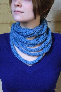 Turn finger knitting into loopy scarf