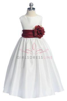 Burgundy+Flowers+and+Sash+Flower+Girl+Dress+K204-BG+$49.95+on+www.GirlsDressLine.Com