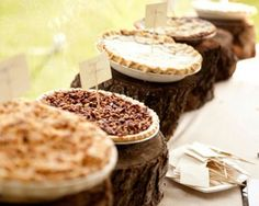 Pies. What a great alternative to a wedding cake or a desert table. Great for an autumn wedding.