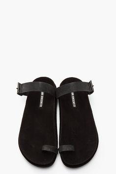 ANN DEMEULEMEESTER Black suede Ravas sandals.