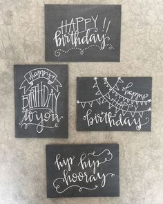 Set of Four Handlettered + Modern Calligraphy Chalkboard Inspired Birthday Cards: