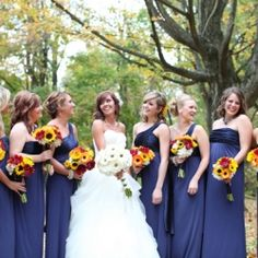 Handmade Sunflower Bouquets and a Navy Blue & Yellow Color Palette. A Perfectly Happy Ohio Wedding