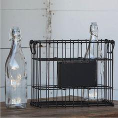 Metal Bottle Basket With Chalkboard