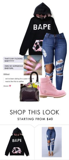 """""""bape.."""" by simbaismyname ❤ liked on Polyvore featuring A BATHING APE and Timberland"""