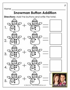 "Adorable ""Snowman Button Addition"" activity for for Preschool & Kindergarten math!"