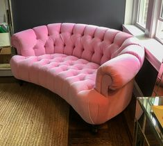 Who wants this bubble gum pink tufted sofa in their home? 🙋♂️🙋 Our clients know how to have fun with their fabric choices!   _______________________________ Upholstered by: #LoussoDesigns in a vibrant pink velour #KostasCustom _______________________________ #customupholstery #reupholstery #upholstery  #bostondesign #bostondesigncenter #interiordesign #pinkcouch #contemporary #Boston  #couch #tuftedcouch #statementpiece #livingroom Dream Home Design, Home Interior Design, Room Ideas Bedroom, Bedroom Decor, Deco Studio, Pink Couch, Pink Room, Aesthetic Room Decor, Dream Decor