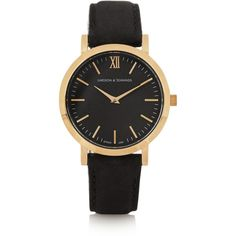 Larsson & Jennings Liten small suede and gold-plated watch ($320) ❤ liked on Polyvore featuring jewelry, watches, black, kohl jewelry, gold plated watches, gold plated jewelry, gold plated jewellery and black wrist watch
