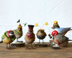 Whimsical Bird Figurines | Small Bird Statues | Decorative Birds