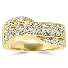 1.25 ct Ladies Round Cut Diamond Anniversary Ring in 14 kt Yellow Gold In Size 16