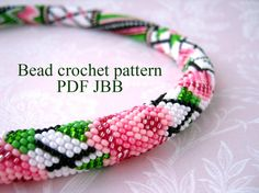Bead crochet pattern PDF JBB tutorial Rose by ABeadCrochetPattern