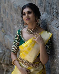 Planning to shop silk half sarees? Here are 20 colorful half saree designs and how to style it with utmost elegance. Saree Blouse Patterns, Sari Blouse Designs, Bridal Blouse Designs, Half Saree Designs, Indian Gowns Dresses, Long Dresses, Dress Indian Style, Indian Outfits, Saree Photoshoot