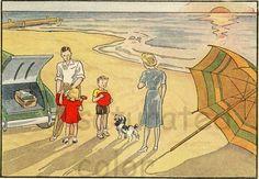 Vintage Childrens  Beach Seashore Retro Illustration - Umbrella - Car - Dog  - Bathing Suit - Sand - Waves - 1940s Original via Etsy