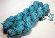 New to UndercoverOtterYarn on Etsy: Sully: Aqua-Teal with purple accents / Baby Alpaca Hand Dyed Yarn. 1 skein 100 grams 3.5 oz. (22.50 EUR)