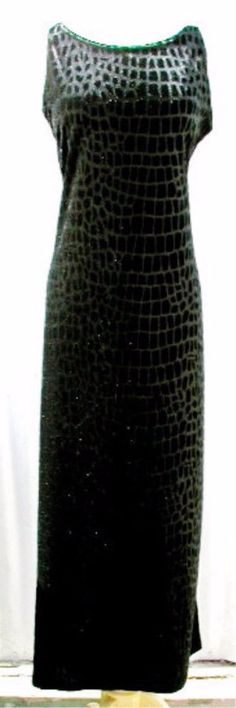 VIA 101 Dress LARGE Black Velvet Pull On Stretch Animal Pattern Woven In Fabric #Via101 #SheathDress #PartyCocktail