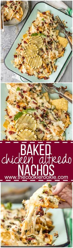 Stop everything and make BAKED CHICKEN ALFREDO NACHOS! The Pulled Chicken Alfredo is made in a slow cooker, then baked onto tortilla chips along with lots of ch