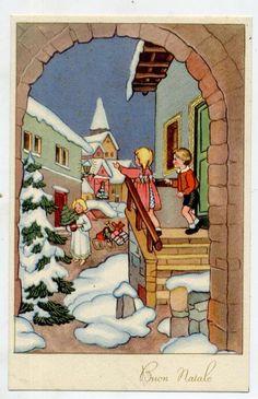 Serie Completa di 6 cartoline Bambini Natale Snowman Angels PC Circa 1940