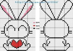 Bunny with heart (front and back) Mini Cross Stitch, Cross Stitch Needles, Beaded Cross Stitch, Cross Stitch Animals, Cross Stitch Charts, Cross Stitch Patterns, Hama Beads Patterns, Loom Patterns, Beading Patterns