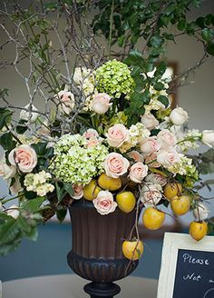 This Backyard Wedding Had Some Of The Coolest Flowers We've Ever Seen - The Knot… Floral Centerpieces, Wedding Centerpieces, Floral Arrangements, Flower Arrangement, Lemon Flowers, Silk Flowers, Altar Flowers, Fruit Flowers, Paper Flowers