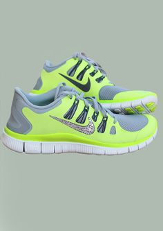 Swarovski Crystal Nike Free Run 0.5 - Lime and light gray with a touch of bling