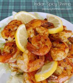 Indian Spicy Shrimp - a low carb appetizer recipe Low Carb Shrimp Recipes, Best Low Carb Recipes, Low Carb Appetizers, Seafood Recipes, Indian Food Recipes, Appetizer Recipes, Keto Recipes, Healthy Recipes, Appetizer Ideas
