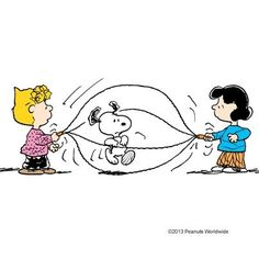 'Jumping rope', Snoopy, Lucy Van Pelt, and Sally Brown.: